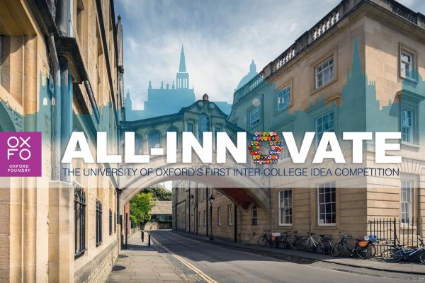 A picture of Hertford College's Bridge of Sighs behind the All Innovate logo