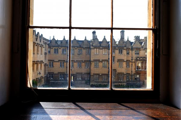 View of Oriel College through the Library window