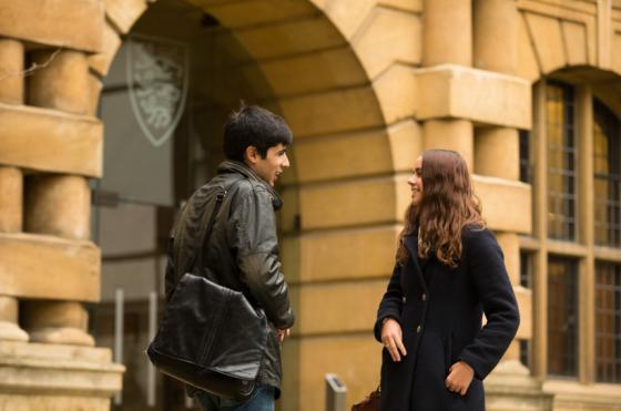 Photo of students talking in Third Quad