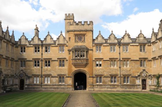 Oriel College's Front Quad and Clock tower