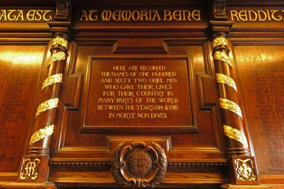 Oriel College Roll of Honour in the Pantin Library