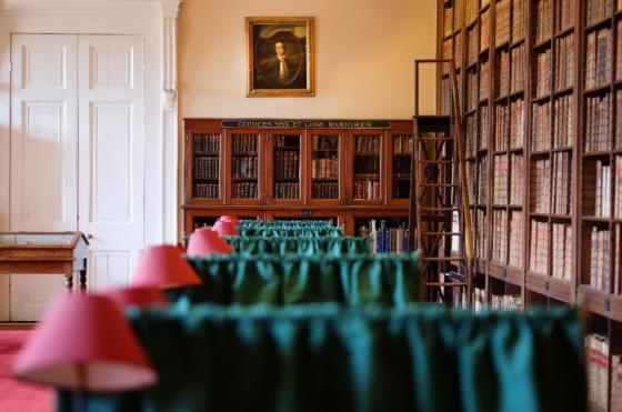 Image of books and desks taken inside the Oriel College Senior Library