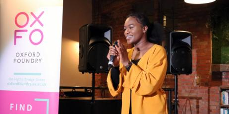 Esther Agbolade hosting an All Innovate event for Oxford Foundry