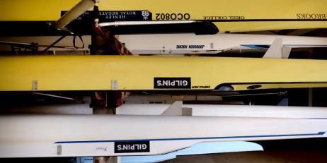 Boats stored in the Oriel College boathouse