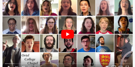 Oriel College Choir wall of faces in digital performance