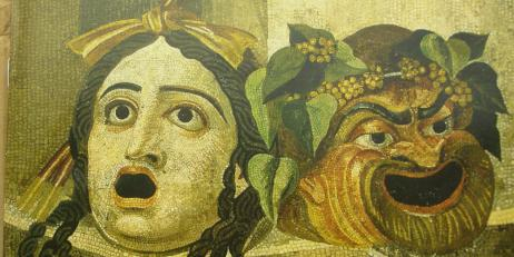 Tragedy and comedy theatre masks on a Roman mosaic