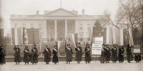 National Women's Party demonstration in front of the White House in 1918