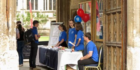 Oriel students welcoming Open Day visitors