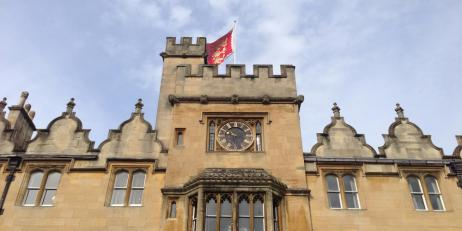 Oriel College flag flying in Front Quad