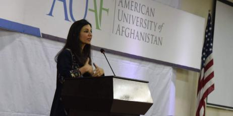 Yalda Hakim speaking at the American University of Afghanistan