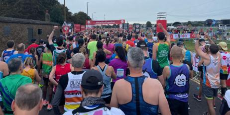 Runners approaching the start line of the London Marathon
