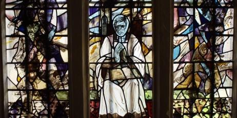 Stained glass window at Oriel College depicting John Henry Newman