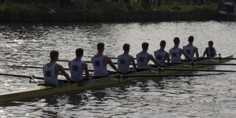The men's 1st VIII in action