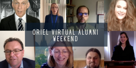 Collage of faces of those who presented at the Oriel College Virtual Alumni Weekend