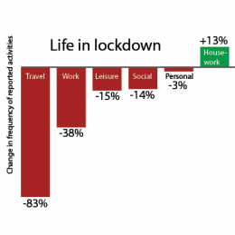 Bar graph showing activities during UK lockdown