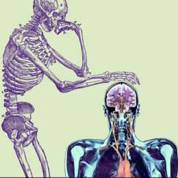 An illustration of a purple skeleton resting its hand on the head of a modern CT image of a human