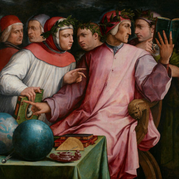Painted portrait depicting Six Tuscan Poets, including Dante and Petrarch