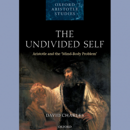 Image of the cover of the book 'The Undivided Self: Aristotle and the Mind-Body Problem' by David Charles