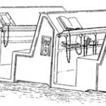 A drawing of books chained to reading lecterns