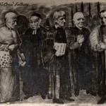 A cartoon of the Oriel Fathers, the leading figures in the Oxford Movement, late 19th century